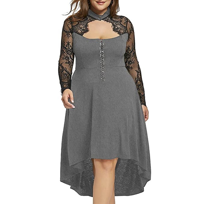 GAMISS Womens Plus Size Lace Up High Low Hem Vintage Dress XL-5XL