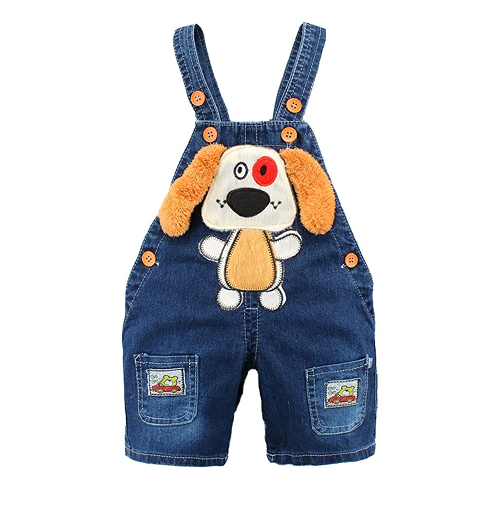 Kidscool Baby Summer Cotton Denim 3D Cartoon Yellow Ears Dog Short Overalls