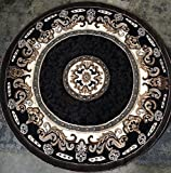 Traditional Round Persian Area Rug Black Design D123 (6 feet 7 inches X 6 feet 7 inches Round)
