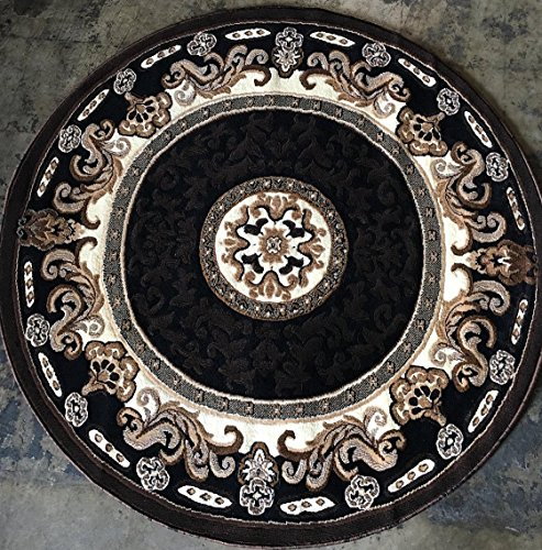 Rug Oriental Round Brown (Kingdom Traditional Round Persian Area Rug Black & Brown Design D123 (5 Feet X 5 Feet Round))
