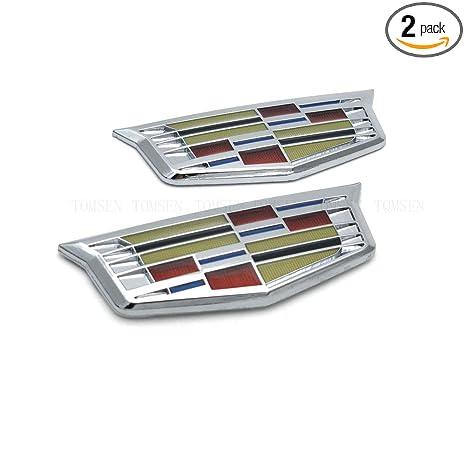2 Pcs Chrome Car Decoration Accessories Sticker Emblem Badge Decal For Cadillac