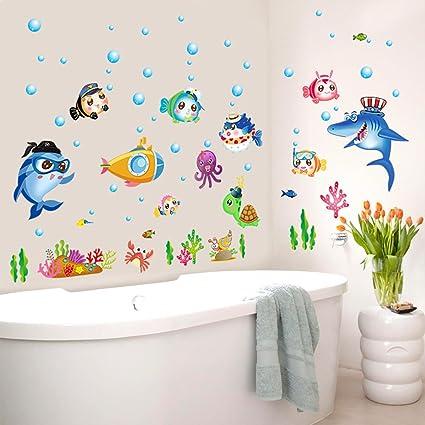 Ecoye Mare Pesci Bolle Removibile Wallpaper Wall Stickers Adesivi Da