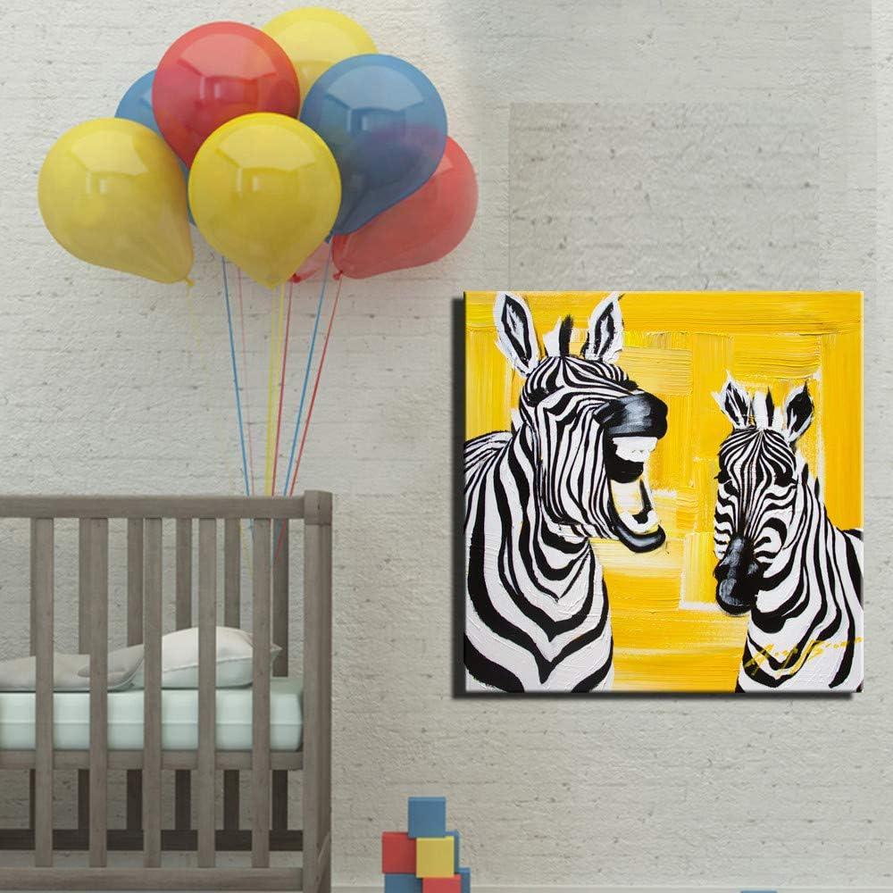 Imprimir Animales Arte De La Pared Lienzo Pósters E Impresiones Color Amarillo Caballo De Cebra Cuadros Modernos Para Habitación De Niños Habitación Para Bebés Deco