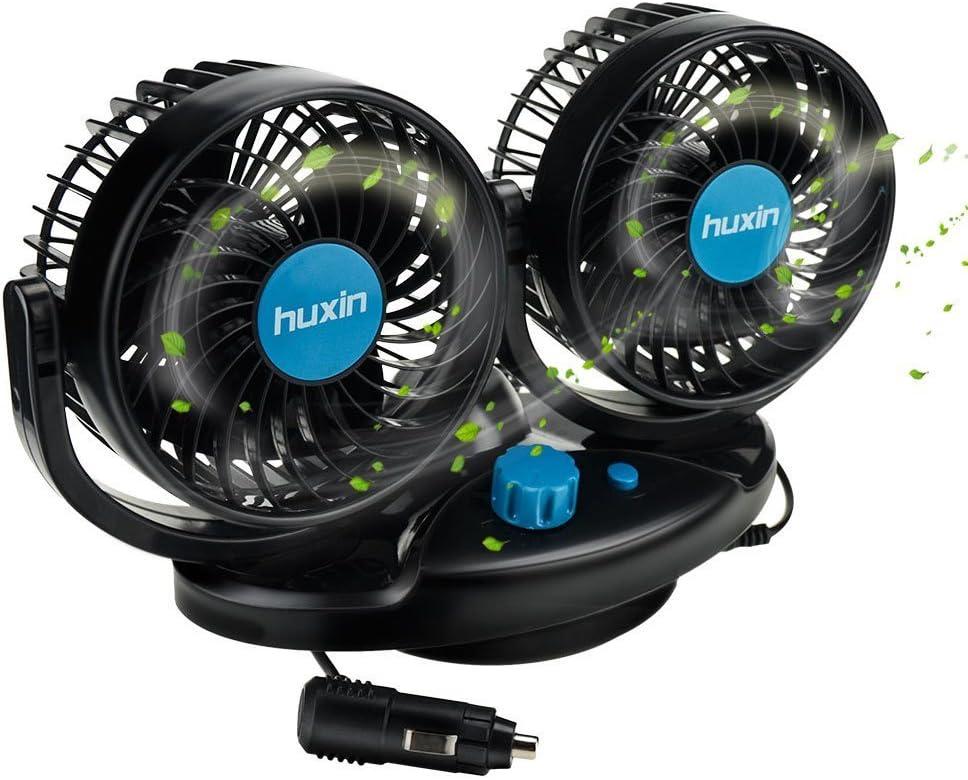 Ventilador Anpress oscilante para salpicadero de coche, 12 V, 2 velocidades ajustables, para coches, SUV, caravanas, carritos de golf: Amazon.es: Coche y moto