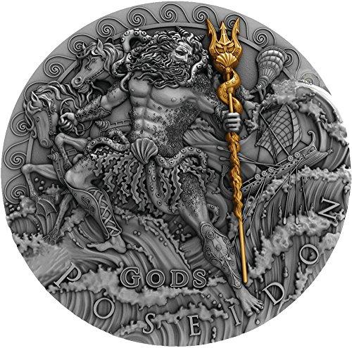 2018 NU Gods POSEIDON God Of the Sea 2 Oz Silver Coin 2$ Niue 2018 Antique Finish