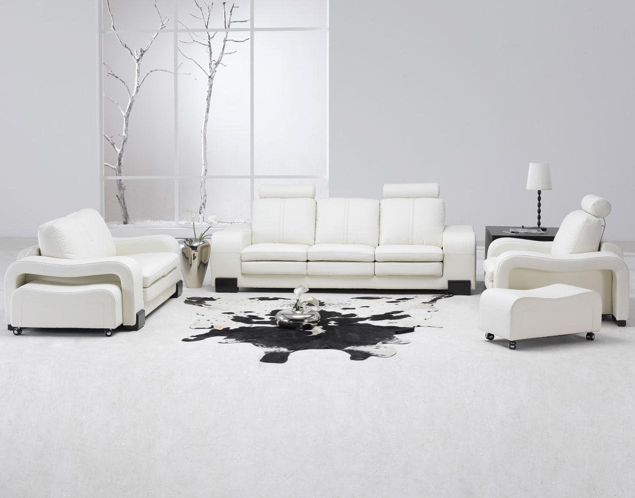 Amazon Com Modern 5 Pcs White Leather Living Room Set Kitchen Dining