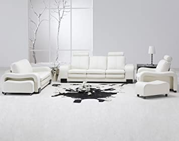 Leather - White - Sofas & Loveseats - Living Room Furniture ...