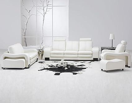 Amazon.com: Modern 5 Pcs White Leather Living Room Set: Kitchen & Dining