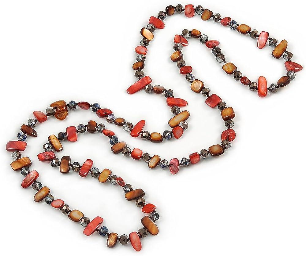 Avalaya - Collar largo con cuentas de cristal morado, color marrón y rojo