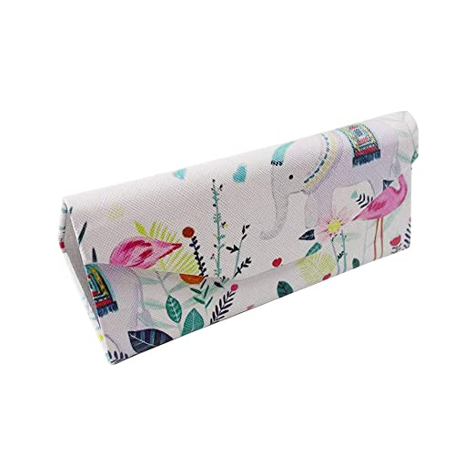 fc8bc90e4dd Image Unavailable. Image not available for. Color  Qifumaer Floral Print Reading  Glasses Case Hard Shell Eyewear Glasses Case Foldable Storage ...
