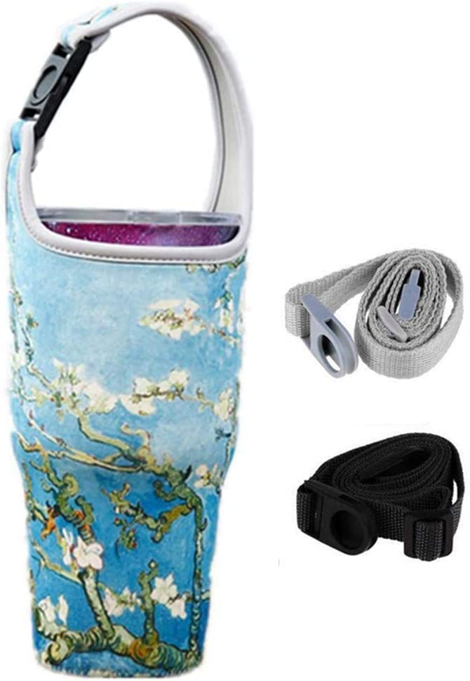 YouZi Tumbler 30 oz Carrier Handle Bag w/Shoulder Strap Fit for Rtic, Atlin, Ozark Trail,YETI Rambler 30 oz Insulated Tumbler Coffee Cup (Blue-Wintersweet)