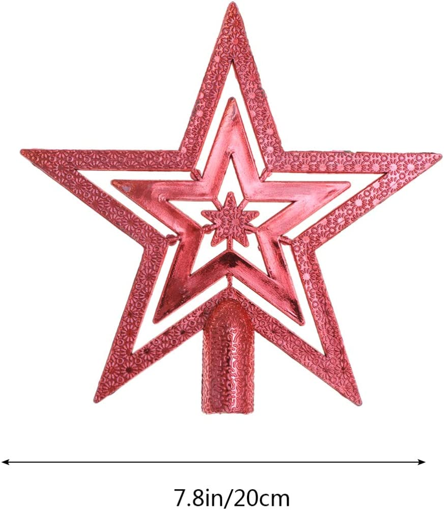 Christmas Tree Top Decoration Xmas Tree Topper Ornaments for Holiday Home Office Shopping Mall Decor Gold DOITOOL 10cm Mini Christmas Tree Top Star Topper