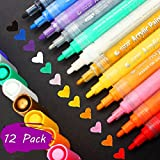 #9: Acrylic Paint Markers Pens Set , Taotree Medium Point Tip Art Permanent Paint Pens for Rock Painting, Mug Design, Glass Writing, Canvas, Photo Album, Metal, Christmas Gift DIY Craft Kids, 12 Packs