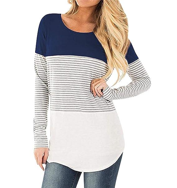 748246868e5 Camisetas Manga Larga Mujer Ajustadas Oversize Camiseta Rayas Basica Tops  Tunica Playeras Anchas Jersey Camisa Blusa Túnica Tunicas Poleras Camisas  Señora ...