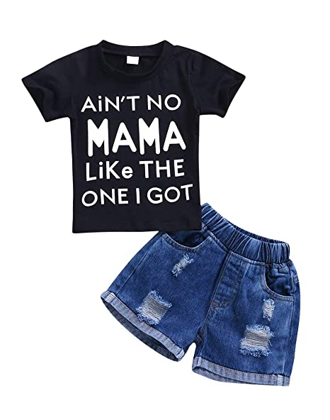 0d92ea5c36c4 Pinleck Toddler Baby Boys Short Sleeve Letters Print Tshirt Ripped Jeans  Shorts Set Black