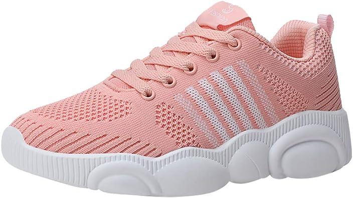 IZHH Zapatillas de Correr para Mujer de caña Alta, Planas, Antideslizantes, para Exteriores, Color Rosa, Talla 35 EU: Amazon.es: Zapatos y complementos