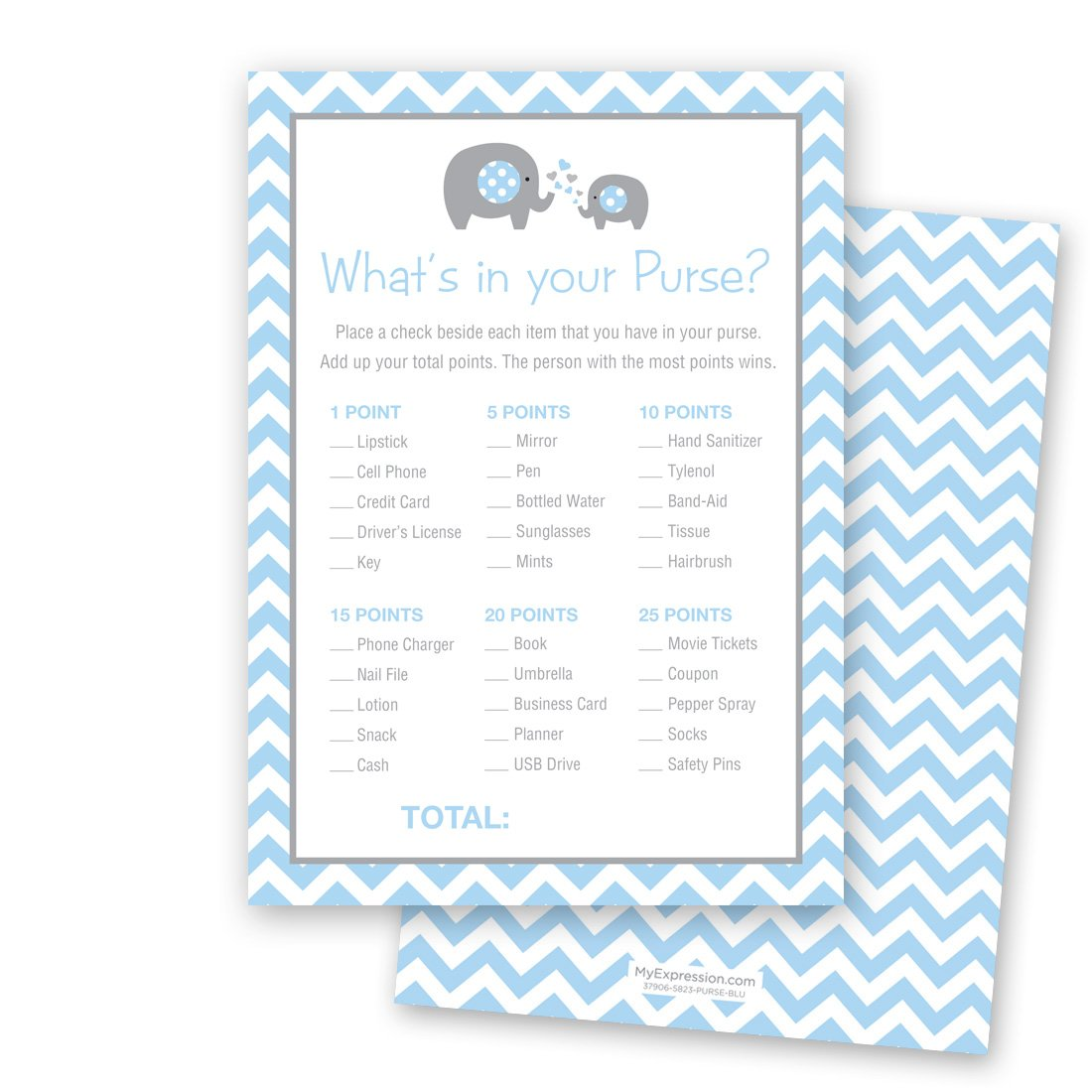 24 Chevron Elephant Baby Shower What's In Your Purse Game Cards (Blue)