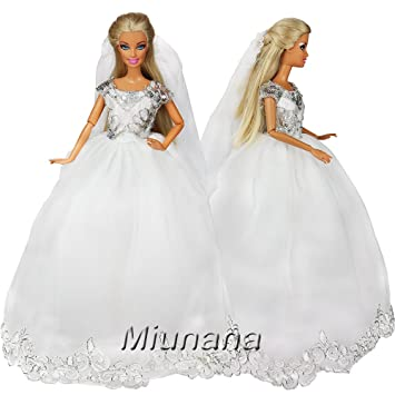 Miunana 1 Vestido Princesa Novia Elegante con Bordado + 1 Velo Ropa Vestir Boda para Muñeca