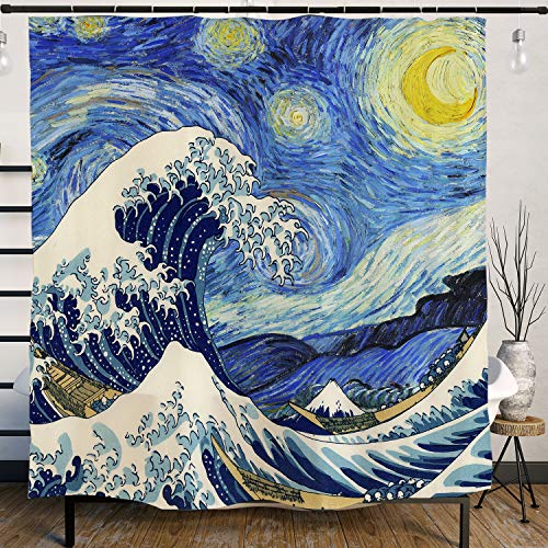 Ofat Home Van Gogh Starry Night and Japanese The Great Wave Painting Artistic Blue Shower Curtain with Hooks 71''x71'',Waterproof Mildew-Resistant Fabric Shower Curtain for Bathroom Home ()