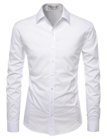 fe076b7a89 TheLees (NKS640) Mens Stretchy Slim Cut Basic Button Down Dress Shirts  WHITE US XS
