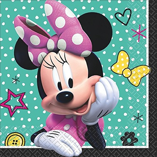 Table Cover Dessert Plates and Cups Amscan 13732 Minnie Mouse Happy Helpers Party Supplies Pack for 16 Guests: Straws Beverage Napkins
