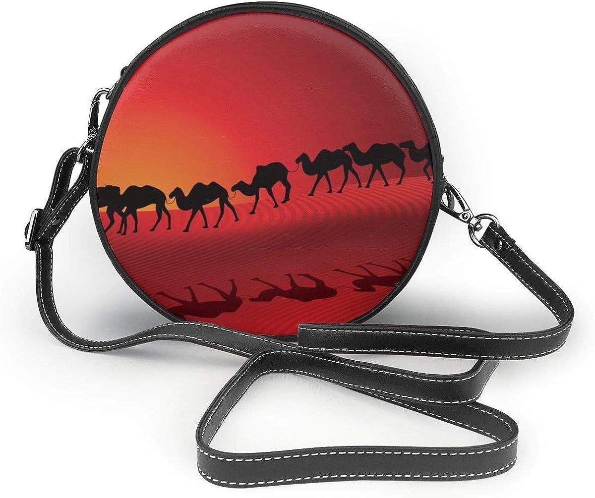 Sunset Desert Llama Round Leather Shoulder Bag Fashion Lady Crossbody Wallet Adjustable Top Handbag For Women Girl