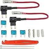 FOSHIO 12V Car Añadir Fusible de circuito Adaptador ACS TAP Perfil de la lámina de perfil bajo Portafusibles con fusible de 15A y mazo de cables Paquete de 2