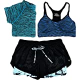 Women Bra T-Shirt Sports 3 Piece Sets Running Sports Yoga Gym Outfit Workout Athletic Suit Set
