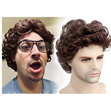 STfantasy Men Wigs Short Curly Layer Natural Brown Hair for Male Guy Daily Cosplay Party