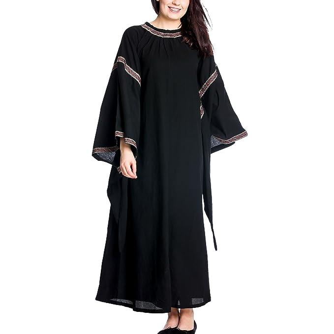 Vestido medieval de mujer con mangas de trompeta negro algodón - XXL