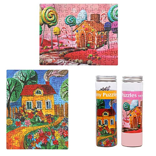 Jigsaw Puzzles ZUINIUBI Portable Tube Mini Puzzle for Kids108-Pieces 2pcs - Candy Paradise &Dreaming House