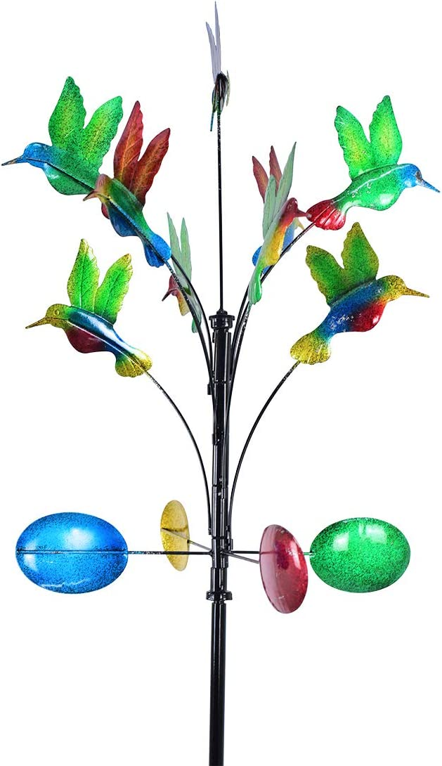hourflik 3D Kinetic Wind Spinners with Stable Stake Metal Garden Spinner with Reflective Painting Unique Lawn Ornament Wind Mill for Outdoor Yard Lawn Garden Decorations