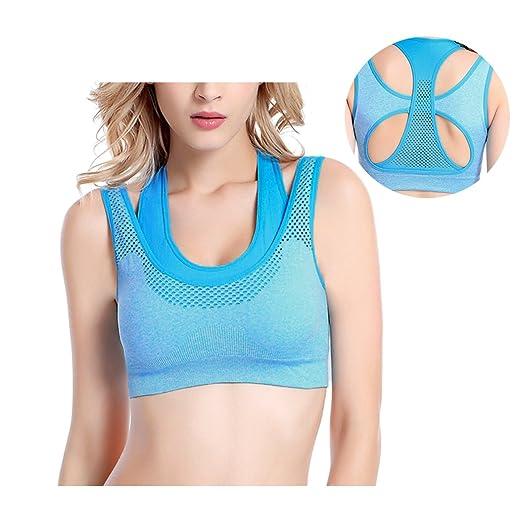 7fa8647e57c96 WisLotife Women Sports Bras Racerback Padded High Impact Workout Yoga Gym  Activewear Bra (SkyBlue