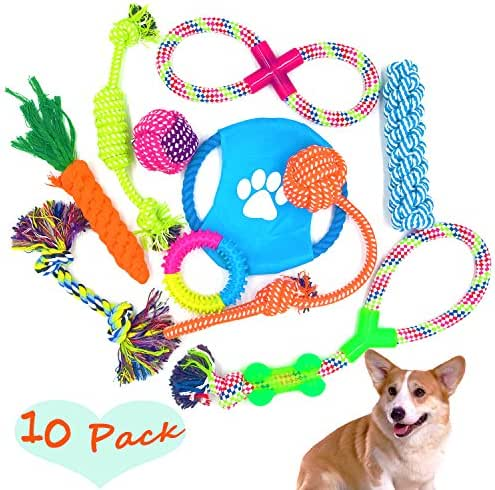 Dog Rope Toys 10 Set Pack Variety Pet Toy for Medium Small Doggie