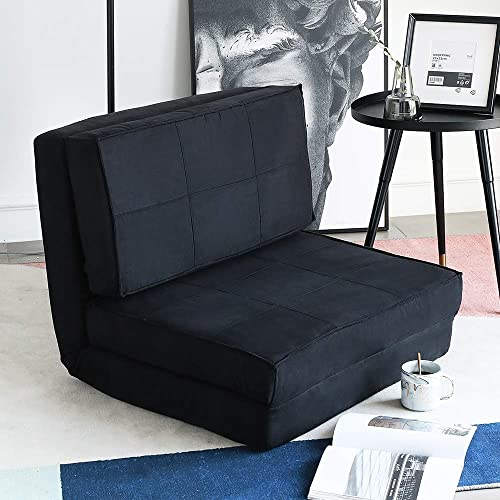 Aclumsy Futon Furniture Sleeper Sofa Folding Memory Foam Bed Floor Couch Guest Chaise Lounge Convertible Upholstered Chair Black