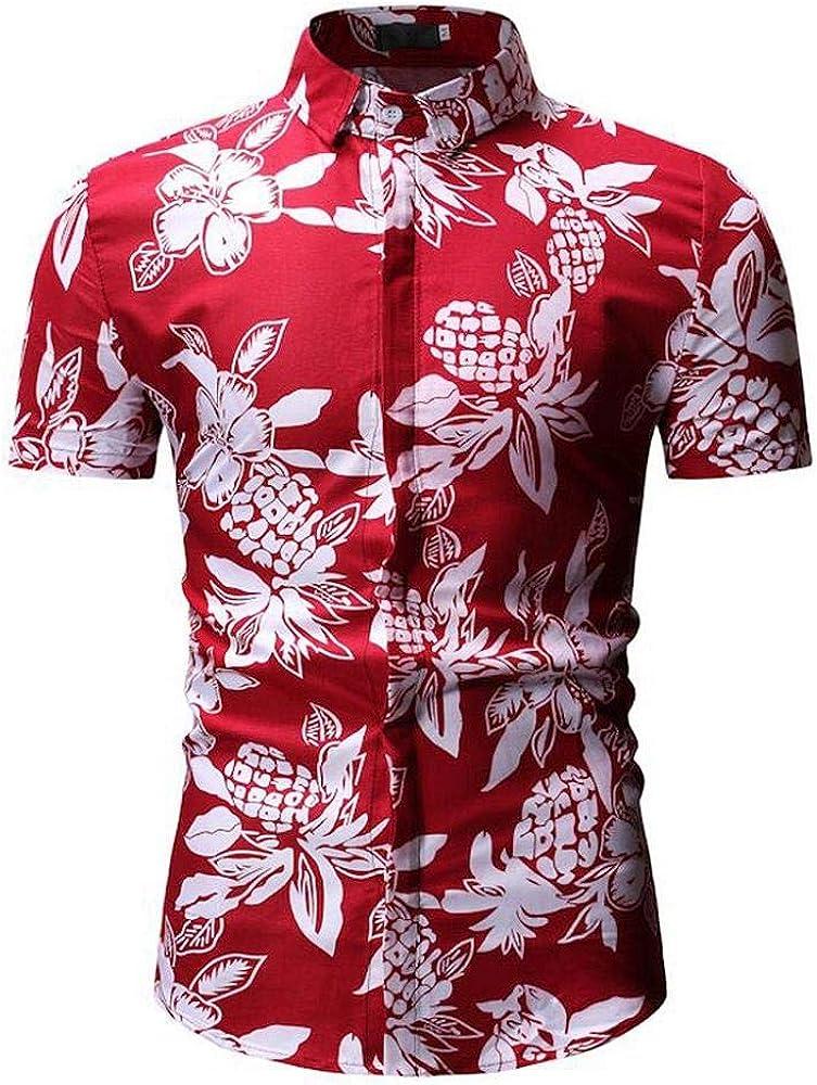 VJGOAL Camisa Hawaiana para Hombre Flores de Verano Impreso de Manga Corta Tops Ocasionales Botón Retro del Cuello del Soporte de la Camiseta de la Blusa: Amazon.es: Ropa y accesorios