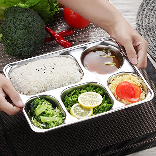 Modalee 304 Stainless Steel Snack Plate For Canteen Restaurant Food Container Bento Lunch Box Kids Dinner Plate Tray Rice Dish