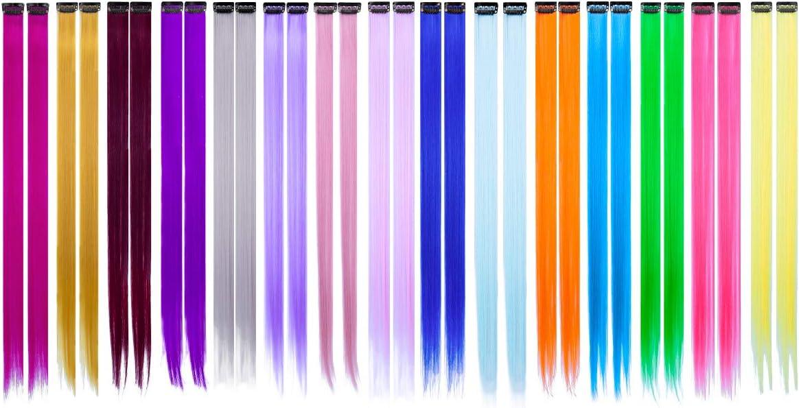 Extensiones de Cabello Colorido, 30 Piezas Extensiones de Pelo Natural 15 colors Hair Extensions con Clip para Fiestas Party