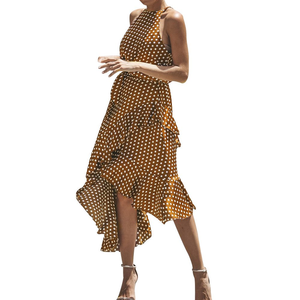 BBestseller Boho Long Evening Party Vestido de Cóctel Playa Vestido de Verano, Falda de Vendaje Sexy Floral Collar de con Cordones, Elegante de Cintura Alta ...