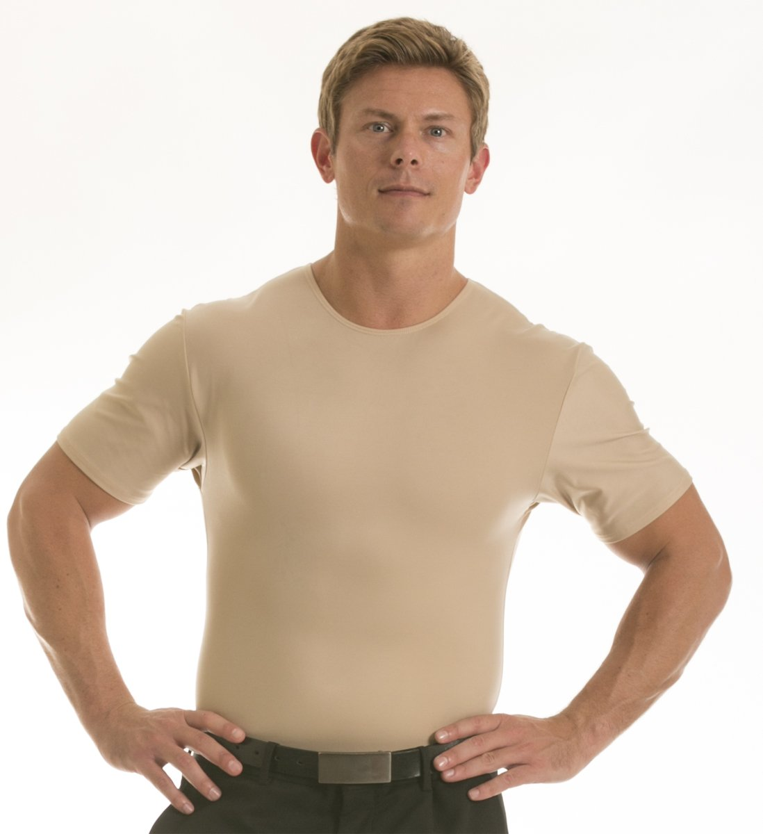 Insta Slim Men's Compression Crew-Neck T-Shirt (X-Large, Nude), The Magic Is In The Fabric! by Insta Slim (Image #1)