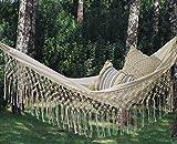 Fringed Macramé Hammock Cotton Tree Hammock Swing Bed for Patio