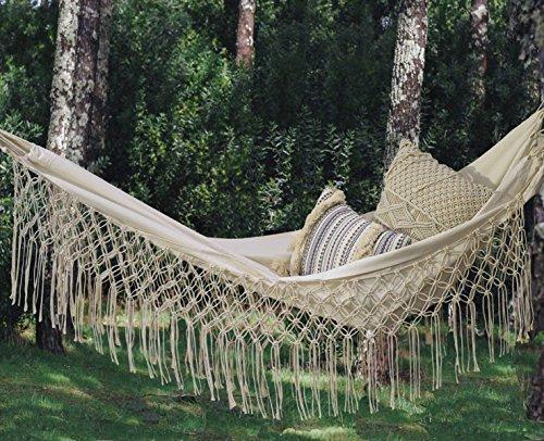 - Fringed Macramé Hammock Cotton Tree Hammock Swing Bed for Patio,79