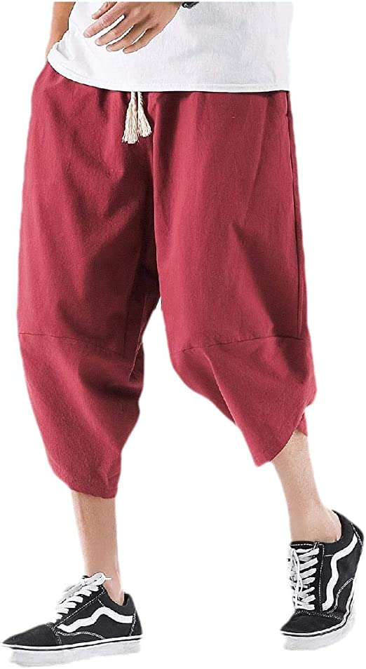 Romancly メンズソリッドカラー中腰ルーズレトロ中国スタイルカジュアルパンツ