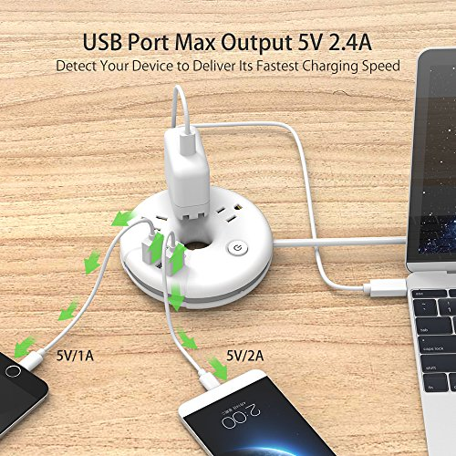 Travel Power Strip - NTONPOWER 3 Outlets 3 USB Portable Desktop Charging Station Short Extension Cord (15 inch) for Office/Home/Hotels/Cruise Ship/Nightstand - White