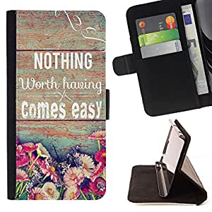 King Case - FOR Samsung ALPHA G850 - the best things come - Prima caja de la PU billetera de cuero con ranuras para tarjetas, efectivo Compartimiento desmontable y correa para la mu?eca