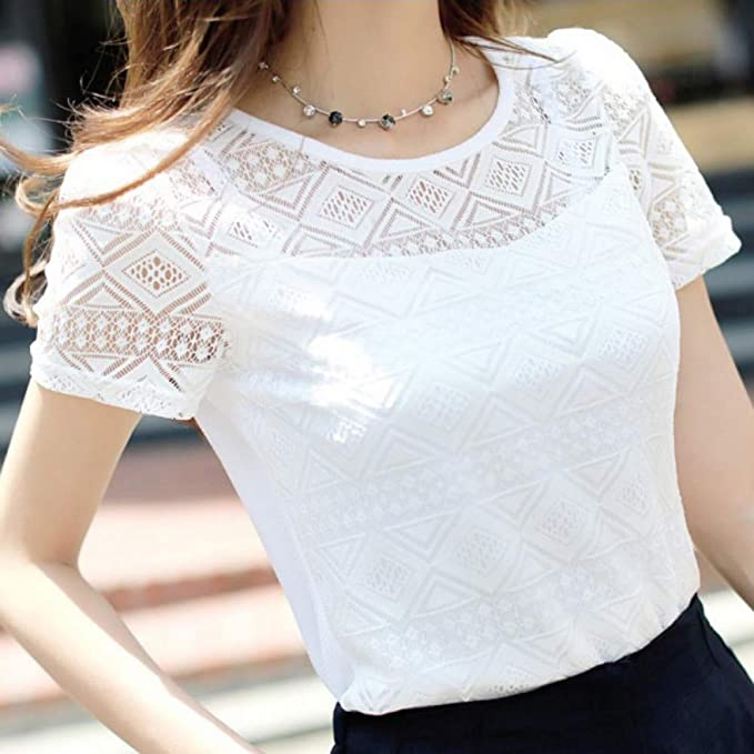 DJSHXC Summer Women Crochet Hollow out Lace Blusa Manga Corta Blanco Negro Slim Tops Camisas: Amazon.es: Deportes y aire libre
