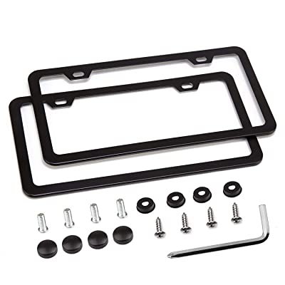 Simchoco License Plate Frame, Black License Plate Frame 2 Pcs 2 Holes Slim Border Matte Aluminum Frame with Chrome Screw Caps for US Vehicles: Automotive