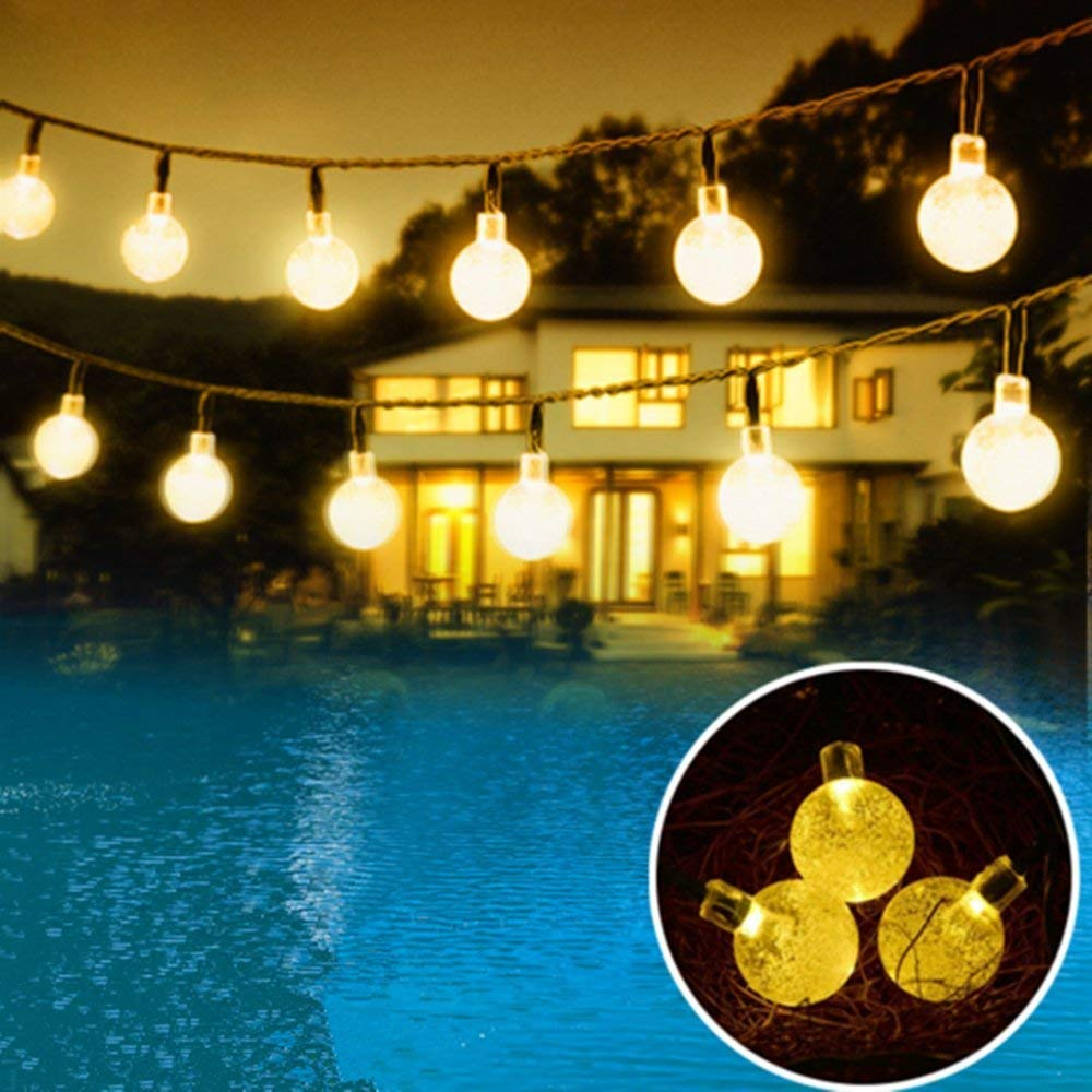 Williamtai Solar String Lights, 30 LED waterproof Outdoor Globe Solar Fairy Lights 20ft/6M Crystal Ball Lights for Christmas, Party, Patio, Tree, Garden and Patio Decoration (Warm White)