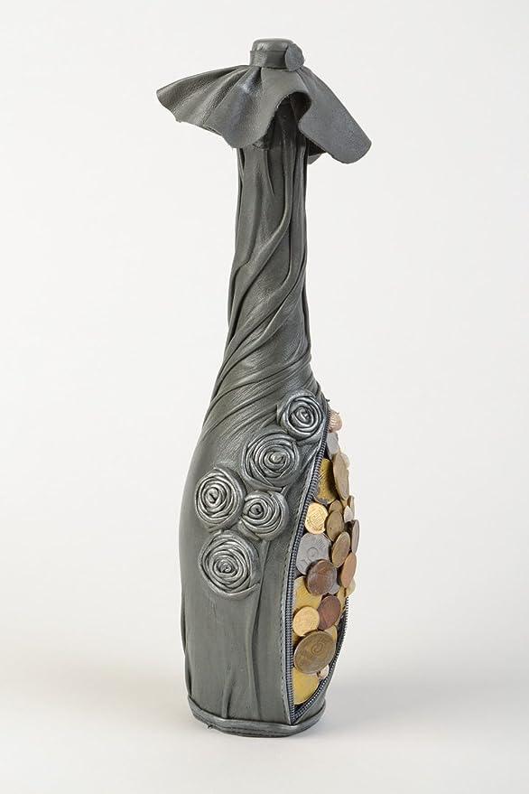 Botella decorativa artesanal hucha decorada con cuero monedas y conchas negra: Amazon.es: Hogar