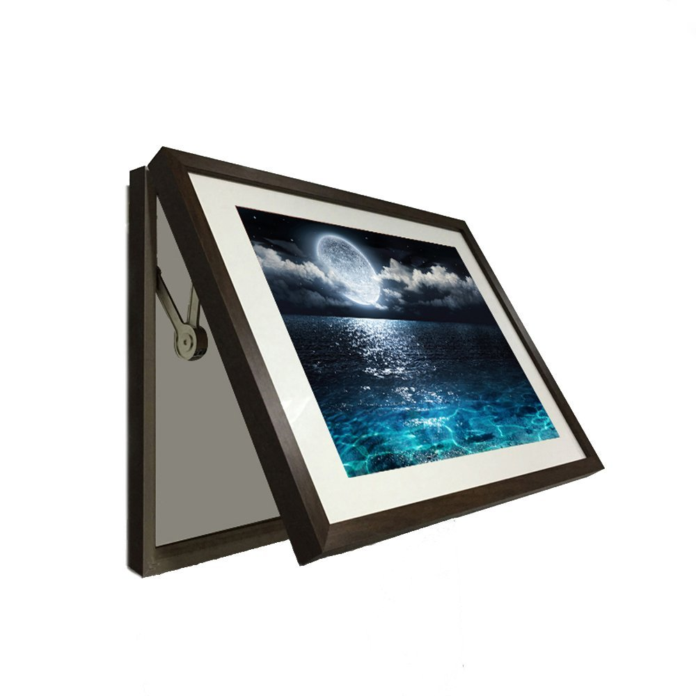 Creative Art - Hidden Electrical Switch Box with Full Moon On Sea Deep Blue Night Seascape Photo Framed Poster Wall Art Ready to Hang (M 58x43cm, Brown)